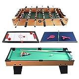 Luqifei Kickertisch Slide Eishockey Foosball Mini Billardtisch Tisch Spielzeug for Erwachsene Kinder 4 in 1 kombiniertem Spiel-Tabelle Billiard Freizeit-Hand Fußball für Spielhallen