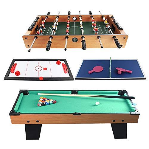 Fanvone Kickertisch 4 in 1 Combo-Spieltisch Billard Slide Hockey Foosball Mini Billardtisch Tabletop-Spielzeug for Erwachsene Kinder Kickertisch für Erwachsene und Kinder