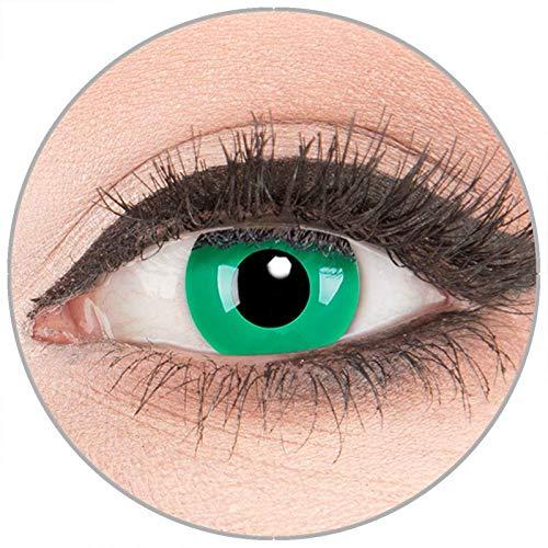 Farbige Kontaktlinsen zu Fasching Karneval Halloween in Topqualität von 'Glamlens' ohne Stärke 1 Paar Crazy Fun grüne 'Emerald Green' mit Behälter (Halloween Kaufen Kontaktlinsen Farbige)