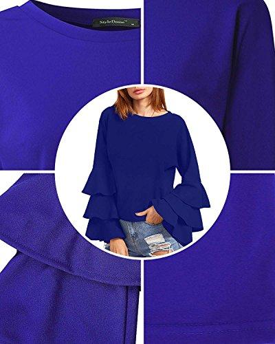 StyleDome Damen Polka Dot Lotus Hülse Langarm Chic Shirts Krawatte Crew Neck Bluse Shirts Casual Tee Tops Blau561896