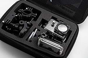 QUMOX taille M Sac Portable de rangement de Voyage boîte de protection pour Accessoires pour QUMOX SJ4000 / wifi SJ4000 / GoPro Caméra (noir, moyen)