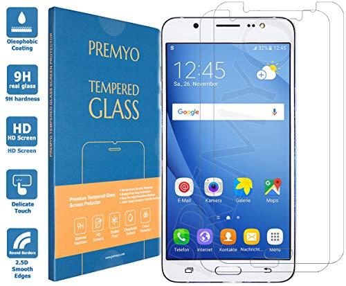 PREMYO 2 Stück Panzerglas Schutzglas Bildschirmschutzfolie Folie kompatibel für Samsung Galaxy J7 2016 Blasenfrei HD-Klar Gegen Kratzer Fingerabdrücke