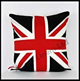 Luxury 100% Cotton Cushion Cover-Union Jack-By Adamlinens (Red & Black,18x18)