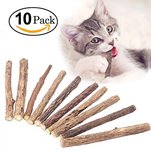 Attiant 10 Bastoncini Gatto Giochi per Gatti, Gatta Erba Bastoncini Catnip Naturale Gioco Gatto 6pcs Gattina Dentini Masticare Bastoncino