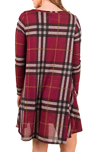 Les Femmes Vintage Des Années 1940 En Swing Poches Chemise En Coton Tuniques Robe Maxi Wine