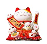 Maneki Neko Winkekatze Glückskatze Glücksbringer Winkende Katze aus Porzellan,Weiß L21*W18*H24cm, 3