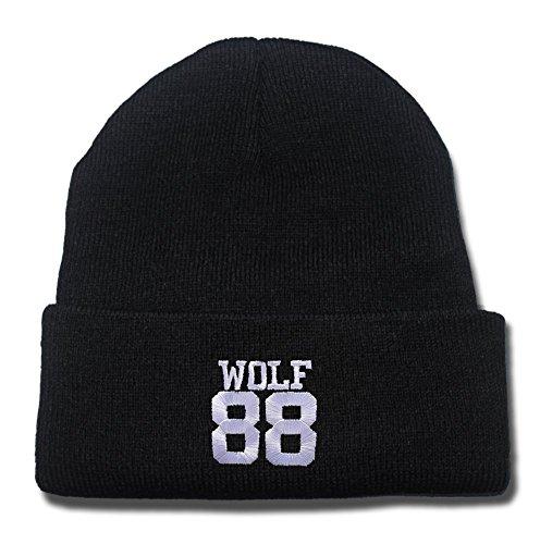 dongf Kpop Exo Wolf 88Logo regolabile cappello berretto cappello a maglia/Cappelli di Snapback/berretti da baseball Black Beanie Taglia Unica