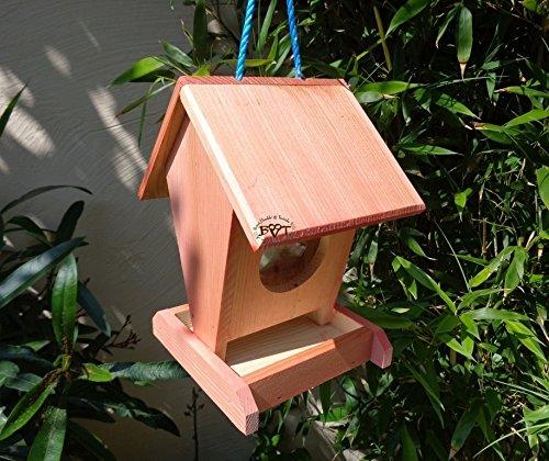 Vogelhaus BEL0--X-VOFU1K-rot002 Robustes, stabiles PREMIUM Vogelhaus, FUTTERHAUS für Vögel, WINTERFEST - MIT FUTTERSCHACHT Futtervorrat, Vogelfutter-Station Farbe Rot lachsrot behandelt , weinrot hellrot knallrot, Ausführung Naturholz, mit KLARSICHT-Scheibe zur Füllstandkontrolle, Schreinerarbeit aus Vollholz -
