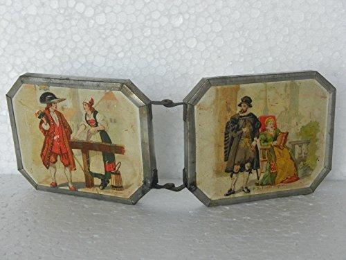 Indian Handicrafts Export Vintage P.B Depuse King & Queen Litho Print Mirror Cum Frame