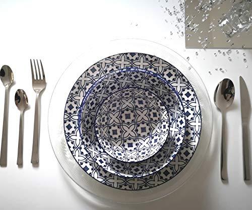 arow iznik Geschirrset (blau weis) 24-teiliges Geschirrset aus Porzellan, hergestellt in der Türkei, Service für 6 Personen -