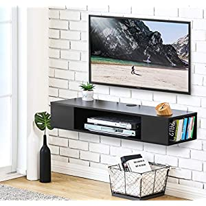 FITUEYES TV Board Lowboard Hängeschrank Fernsehschrank Mediawand Wandschrank Holz Schwarz DS210003WB