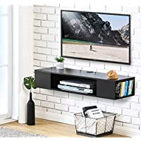 FITUEYES Wall Mounted AV Shelf Floating TV Cabinet Stand for Entertainment Center, Free and Save Space DS210003WB