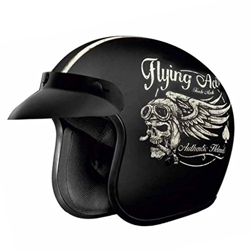 Speedwav Studds Open Face Helmet Jetstar Classic D5 Decor Flying Aces (Matt Black_Large)