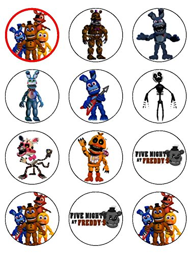 12 x 2.1 inch Five Nights at Freddy's Edible Icing Birthday Cup Cake Toppers