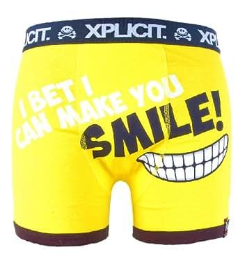 Xplicit 'Big Grin' Mens Funny Novelty Boxer Shorts Yellow S