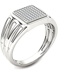 Naitik Jewels 92.5 Sterling Silver Classical Squre Shap Design Diamond Ring For Men