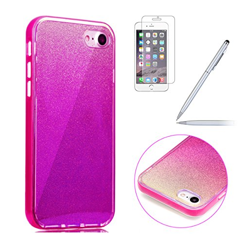iPhone 7 Bling Coque,iPhone 7 Case,iPhone 7 Etui - Felfy Ultra Mince Silicone Gel TPU Housse Bling Shiny Sparkle Glitter étoile Placage Coque Housse de Protection Etui Anti Scratch Case Cover Case Bum Miroir Rosa Rote