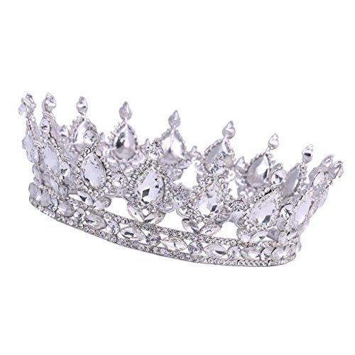 grandnessry Couronne Anniversaire 40 Ans Diad/ème,Cristal Incrust/é de Diamants Princesse Bandeau avec Peigne Strass Cristal Argent pour Souvenirs de Mariage Anniversaire,Princesse Parties Anniversaire