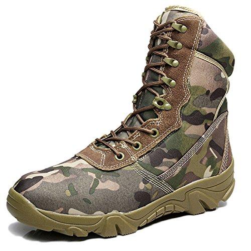 nihiug Wanderschuhe Herren wasserdichte Leichte High Rise Leichte Camo Military Boots Special Forces Tactical,Camo-41 Tactical Military Boots