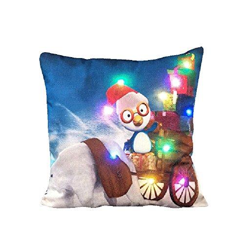 so LED Zierkissen Kissenbezug Merry Christmas Schneemann Pinguin Elch Santa Schloss Muster Geschenk Sofa Deko Pillowcase (45 X 45 cm, A) ()