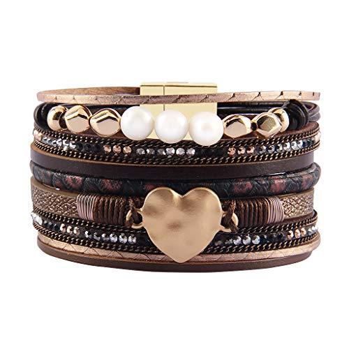 JAOYU Bracelet Cuir Filles Les Femmes Aiment Le Coeur...