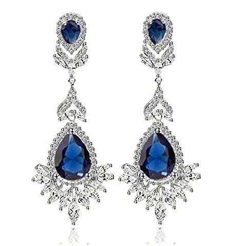 KnSam Boucles d'Oreilles Fantaisie Plaqué Or Blanc Percées Drop Earrings Teardrop Couronne Incrusté Cristal Rhinestone Bleu