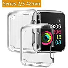 Funda Apple Watch 42mm Series 2/ Series 3 [2 pieza], PEMOTech Suave TPU Protector de Pantalla Todo al rededor Protector 0.3mm HD Claro Ultra delgado Case Anti-Arañazos Funda para Apple Watch Series 2/ Series 3 (42mm)