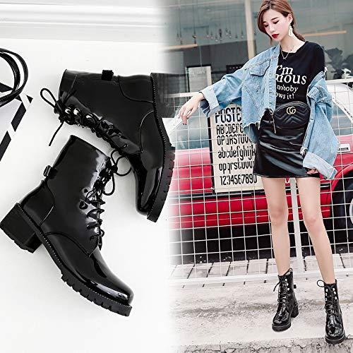 Top Shishang Herbst und Winter geschnürt mit Lackleder runden Kopf Retro Martin Stiefel Damen Chelsea Stiefel und ()