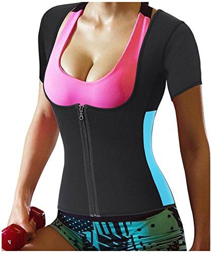 Gotoly Damen Neopren Abnehmen heißen Sauna Schwitzanzug Ärmeln für Gewichtsverlust (M Für 42-46, Schwarz) -