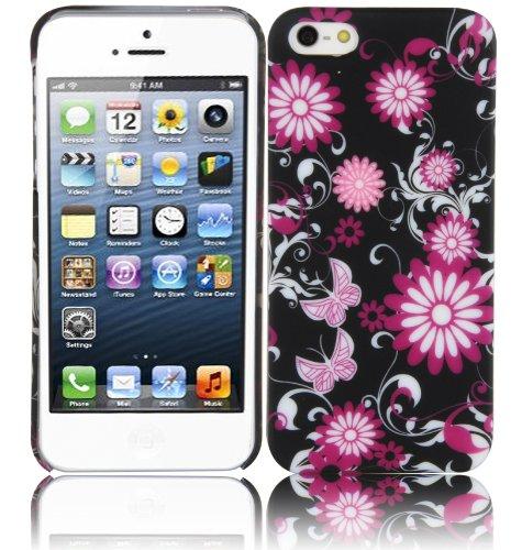 Cadorabo - Etui Coque rigide Apple iPhone 5 / 5G / 5S - Case Cover Bumper Design: USA FLAG Design: FLEUR PAPILLON
