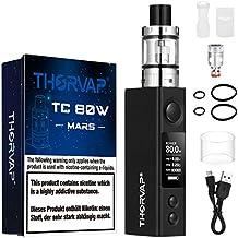 Cigarrillo Electrónico, THORVAP® Mars 80W BOX MOD| Tanque 0.2ohm| 80W TC Mod Control ajustable de temperatura Cigarro Electronico| Sin Nicotina y Sin E-líquido| (18650 pila no incluido) (Negro)