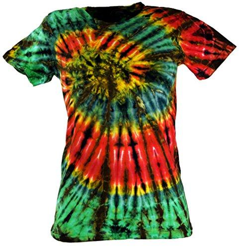 Guru-Shop Batik T-Shirt, Tie Dye Goa Shirt - Grün, Damen, Baumwolle, Size:S (36), Tops, T-Shirts, Shirts Alternative Bekleidung (Damen Tie T-shirt Dye Grüne)