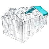 WOLTU HT2067m1 Pollaio Gabbia Grande per Conigli Criceto Animali Recinto in Metallo con Copertura Protezione Parasole Esterno Giardino 220x103x103cm