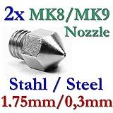 2x MK8 MK9 Präzisions 3D Drucker Düse Edelstahl 0,3mm
