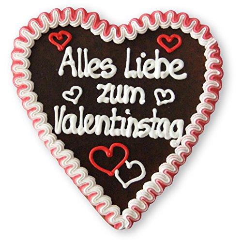 Alles Liebe zum Valentinstag - Liebesgrüße auf Lebkuchenherz - Geschenk Ideen für Freundin und Freund zum Valentinstag