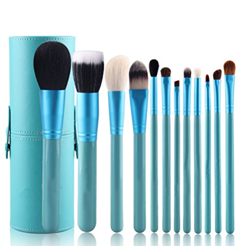 Vi.yo 12 Pcs Avancé Ensemble de Brosses Makeup Premium Cosmetics Foundation Blush Kit de Brosse à Poudre(Bleu)