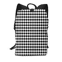 Mini Black and White Mini Diamond Check Board Pattern Casual Laptop Backpack School Backpack Rucksack Bags for Men Women Kids Boys Girls