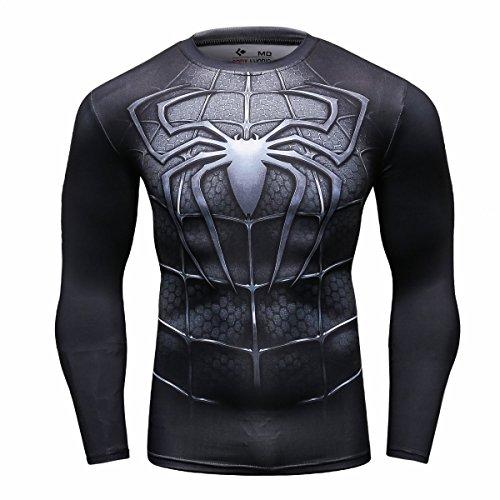 Cody Lundin Männer Superhelden Serie Party Shirt männlich Motion Joging Party im freien Stil Sport Long Sleeve (Spider D, M)