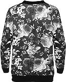 WEARALL Damen Übergröße Blumen Bomber Jacke Dames Top Rose Print Langarm Zip Stretch – 42-56 - 2
