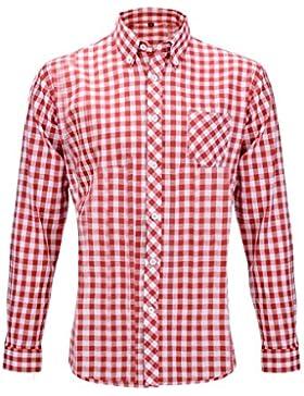 Oktoberfest 2017 Hemd Slimfit Herren Trachtenhemd Baumwolle M / L kariert rot + blau / weiß