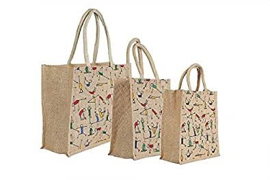 RangTeq Unisex Canvas Jute Yoga Print Beige Bag with top Zipper - Combo of 3