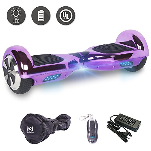 Cool&Fun 6.5' Hoverboard Patinete Eléctrico Scooter Talla LED 350W*2 Bluetooth (Chrome Purple)