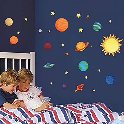 Indexp Kids DIY Removable Solar System Planets Moon Cartoon Gift Glass Wall Stickers