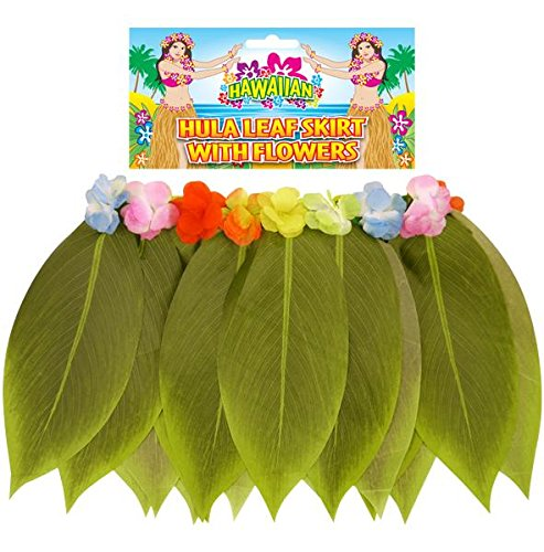 Peeks Adult Hawaiian Hula Leaf Grass Skirt With Flowers Fancy Dress Accessory (Dress Fancy Flower Kostüme)