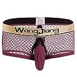 Pantaloncini Traspiranti da Uomo Pantaloncini Boxer in Maglia Classiche da Uomo Bikini Slip Lingerie Pantaloncini Erotici Thong Jockstrap Ragazzi (Color : Winered1, Size : S)