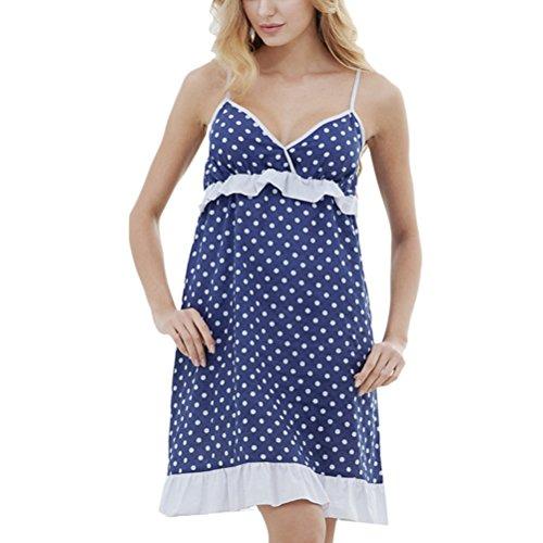 Zhhlaixing Fashion Wave Point Sling Sleep Skirt Elegant Womens Summer Cotton Pajamas Royal Blue