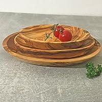 Tapas plato Set 3pc Madera de olivo/servir y cuenco para salsas, hecho a mano