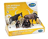Papo - 80000 - Figurine - Animaux - Animaux Sauvages 1 - Boîte Présentoir - Okapi / Chimpanzé / Bébé Chimpanzé / Gnou
