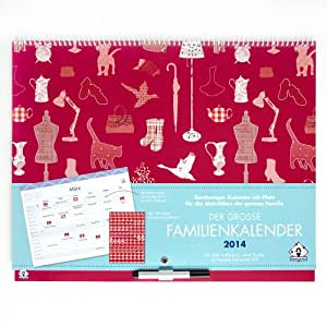 Der Grosse Familienkalender 2014. Geräumiger Monatsplaner mit viel Platz und Spalten für bis zu 6 Personen
