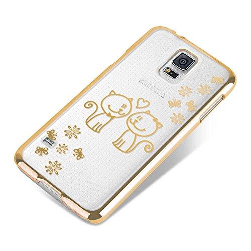 Apple iPhone 5 / 5s Handyhülle / Schutzhülle inkl. Displayschutzfolie im Design : die kleine Fee Gold verliebte Katzen Gold+Touchstift